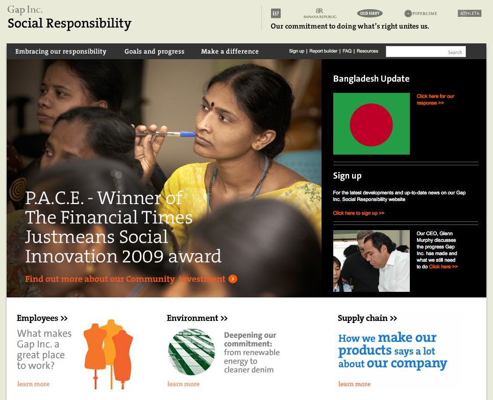 the gap inc 's social responsibility report 2004: publishes first social responsibility report social responsibility initiatives gap inc's social responsiblity reports business scope brands gap.